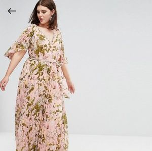 Dresses & Skirts - ASOS CURVE Floral Pleated Flutter Sleeve Maxi Dres